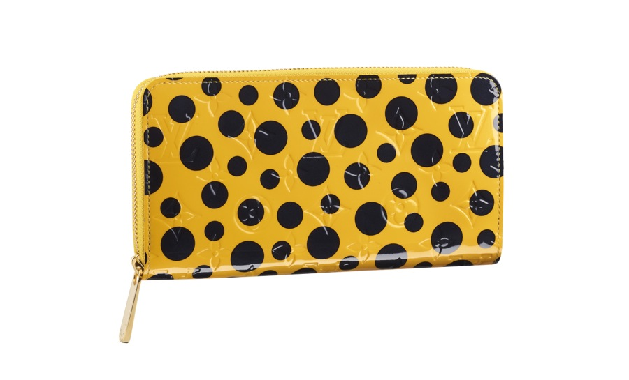 Yayoi Kusama Louis Vuitton Zippy Wallet Monogram Vernis Dots Infinity yellow