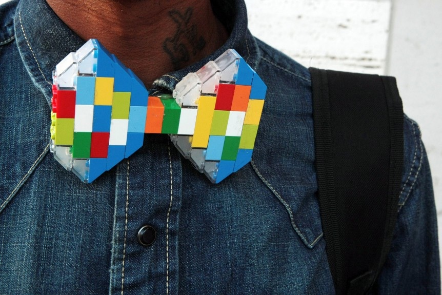 Desmond Handon of EthniCITY Designs in his own Lego bow tie