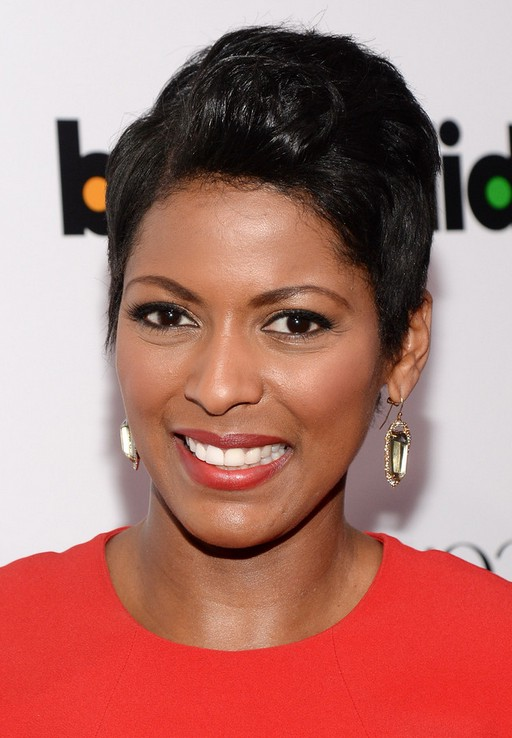 Tamron Hall Short Side Parted Black Haircut For Black