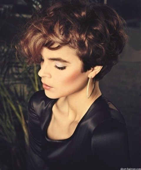 Pixie Hairstyle with Long Bangs - Short Haircuts for Curly Hair