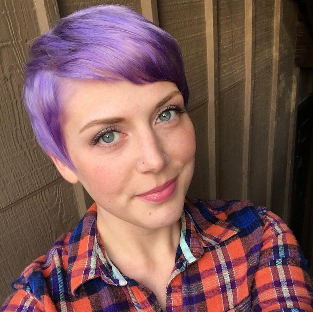 colored pixie cut with bangs for short hair - pastel purple short haircut