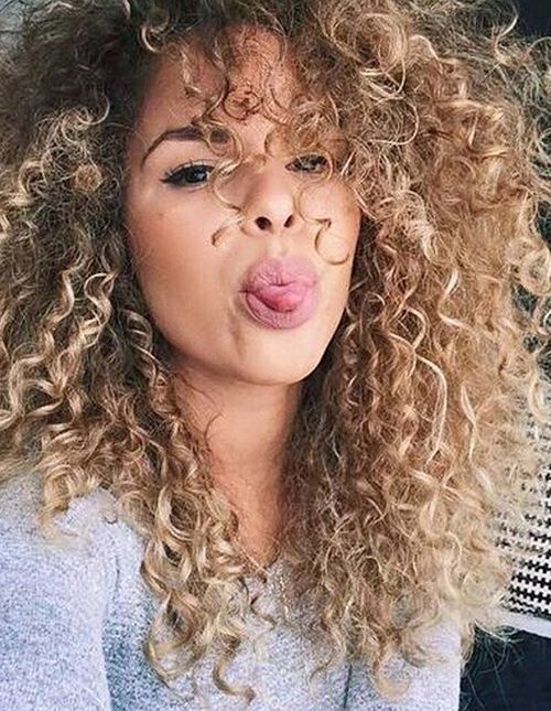 long curly perm with long layers