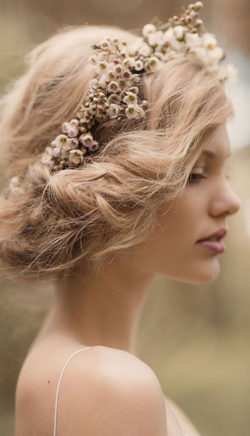 Messy Updo with Floral Crown for Brides