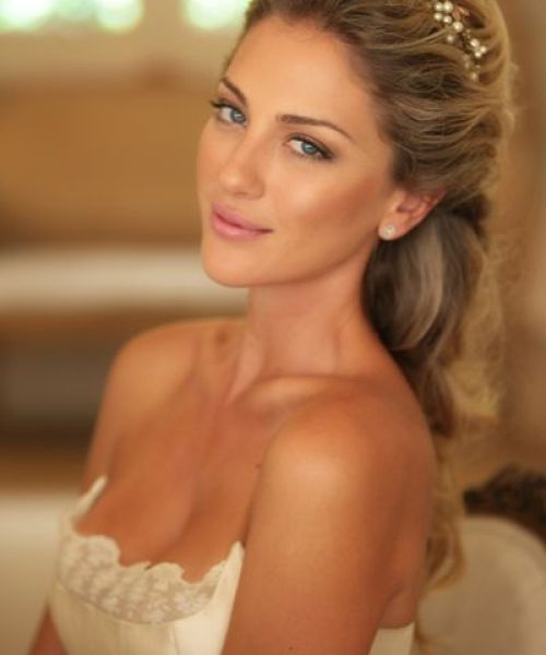 Simple Yet Stylish Bridal Half Updo Hairstyle