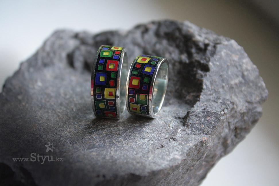 Серебряные кольца с эмалью для мужа и жены. Минанкари в Алматы