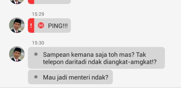 Screen Capture Percakapan Jokowi Sebelum Pelantikan Menteri Menjadi Hiburan Sosial Media