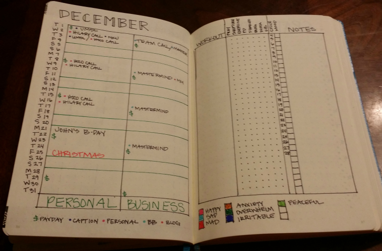 Monthly Calendar Bullet Journal : Bullet journal december setup sublime reflection