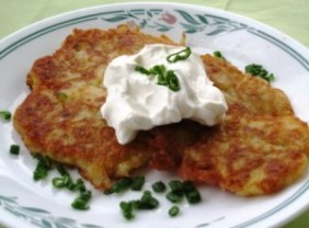 Irish-Potato-Pancakes-served-with-sour-cream