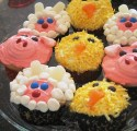Farm Animal cupcakes - sheeps, pigs, chicks