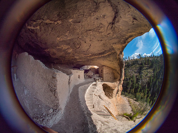 fisheye image at gila cliff dwellings