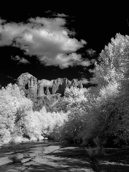 black & white infrared photo cathedral rock