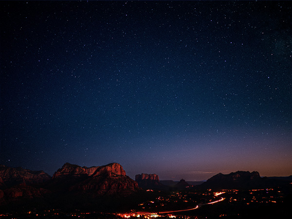 stars and moon over sedona