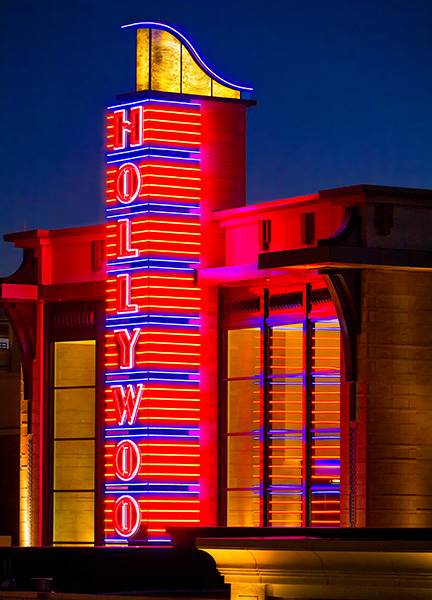 hollywood neon sign building
