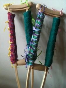Yarn-bombed crutches