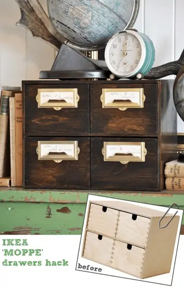 DIY vintage file drawer ikea hack before and after