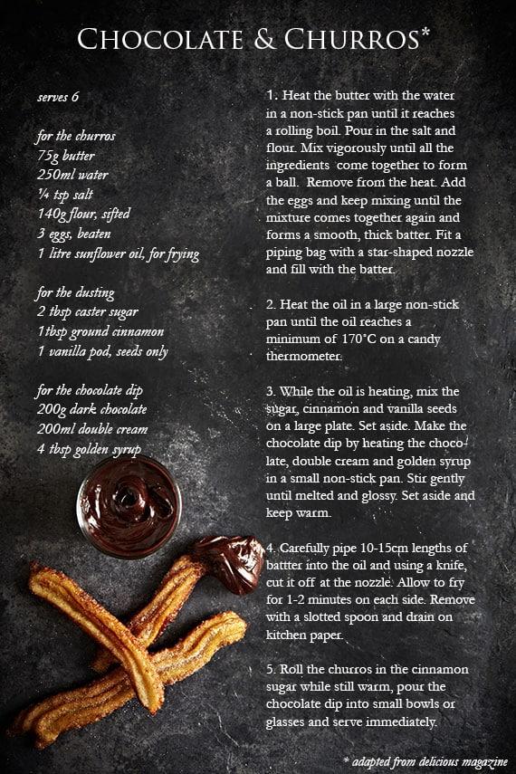 food photography and chocolate & churro recipe