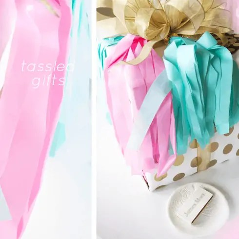 how to make a tasseled and layered bow gift