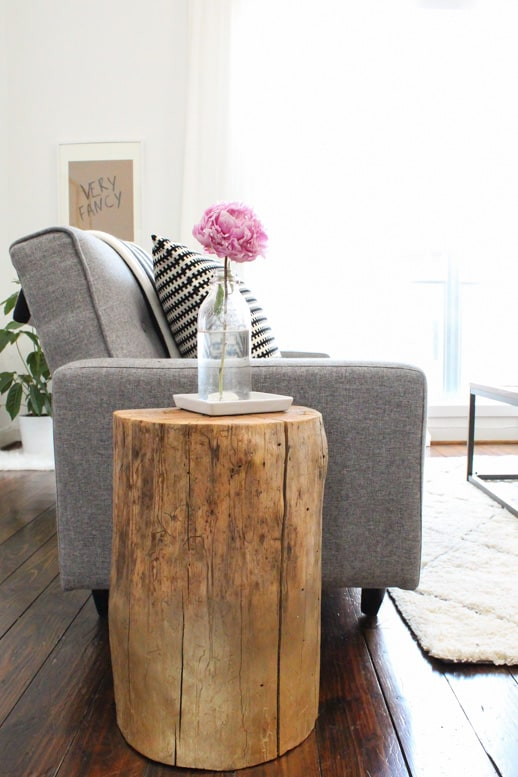 #DIY ombre stump side table by Sugar & Cloth