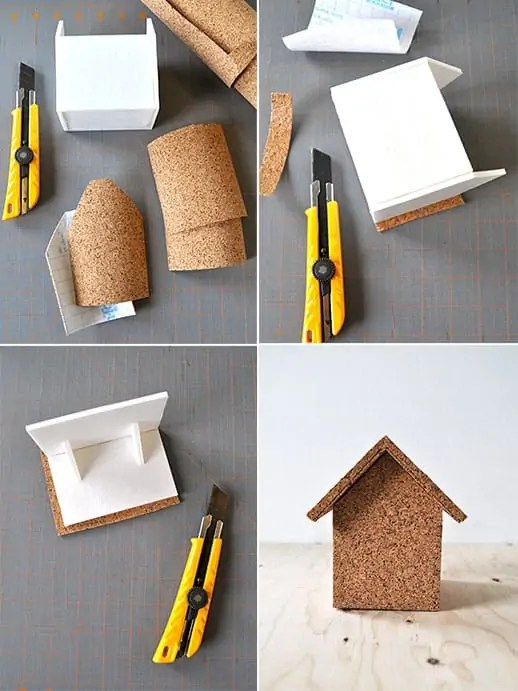 DIY cork house storage box