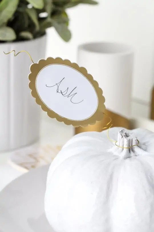 DIY pumpkin leaf place cards