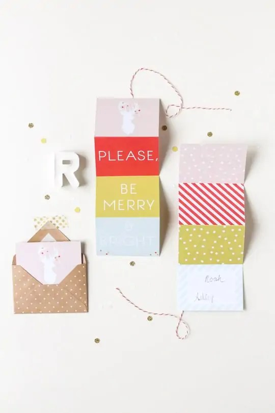DIY printable accordion gift tag