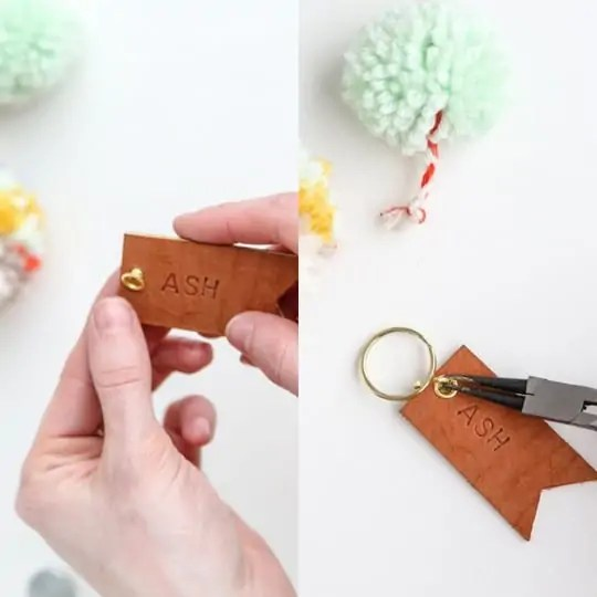 DIY pom pom and leather luggage tags