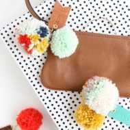 DIY Pom Pom Leather Luggage Tags - Sugar and Cloth