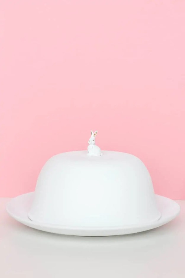 DIY figurine cake dome with supplies from home