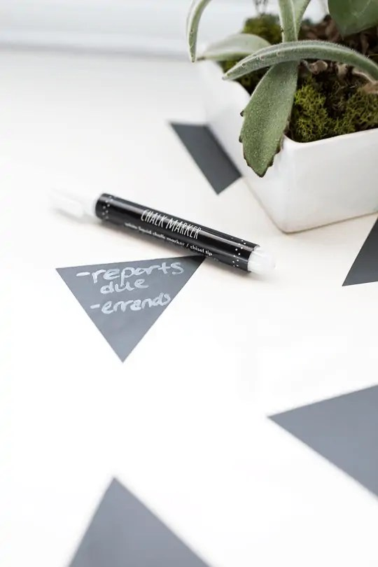 DIY geometric chalkboard notes desktop | sugarandcloth.com