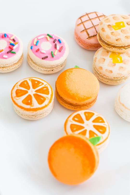Colorful Macarons DIY Brunch Macaron Oranges Donuts Waffles Desserts Food Photography