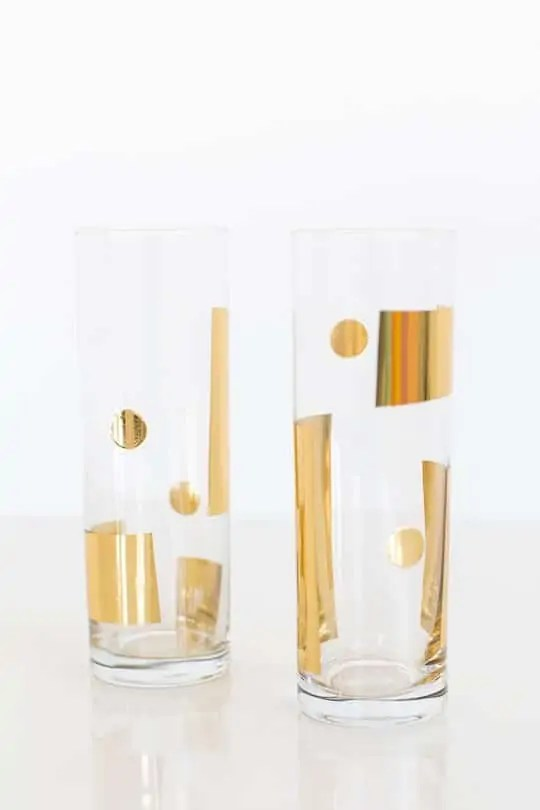 DIY metallic patterned glassware - sugar & cloth