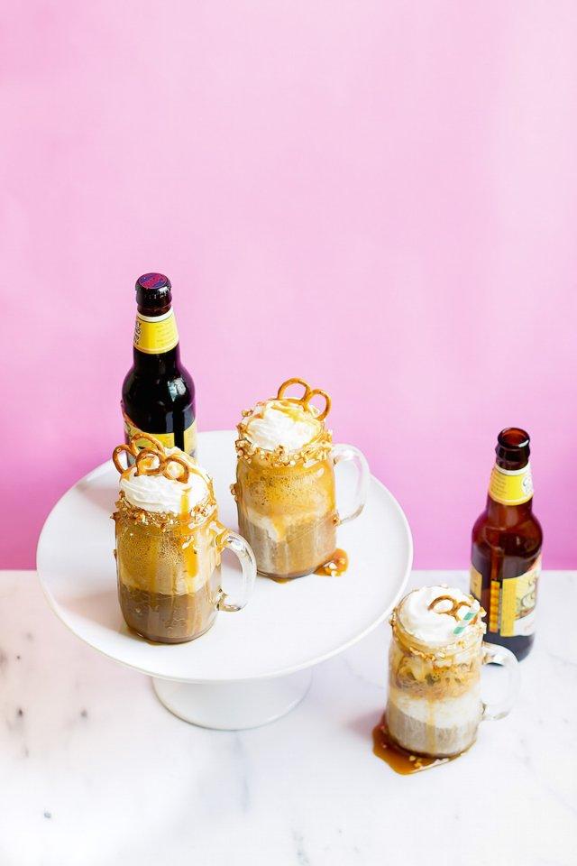 Boozy Caramel Pretzel Root Beer Floats
