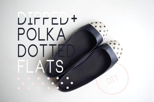 DIY dipped toe and polka dotted flats shoes
