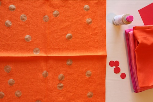 DIY polka dotted linens