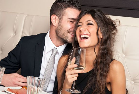 couple-laughing and attracted to each other