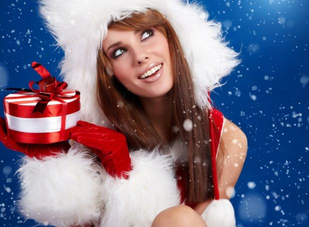 sexy santa woman with gifts