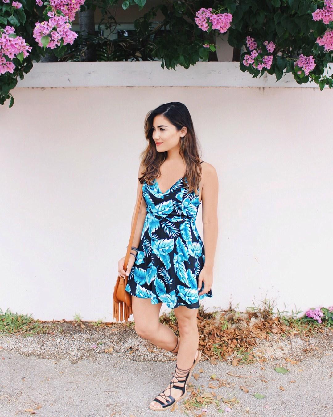 Tropical Leaf Print Dress