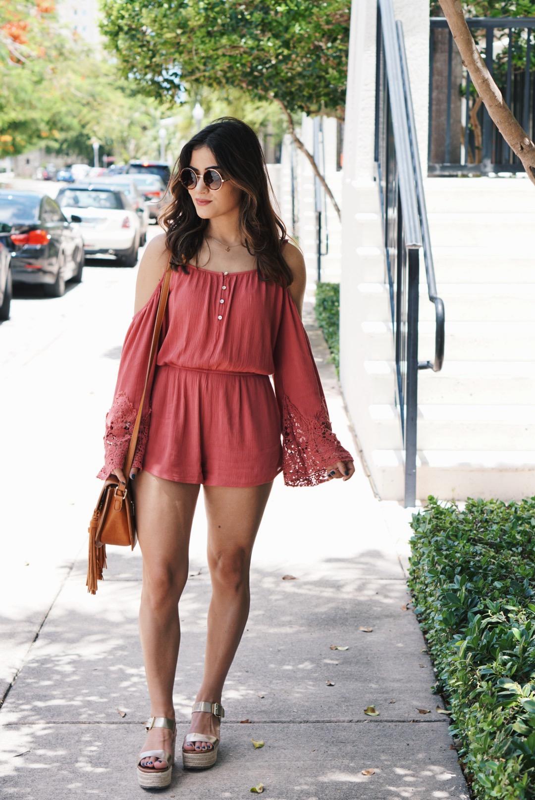 Fashion Blogger Styles Open Shoulder Romper