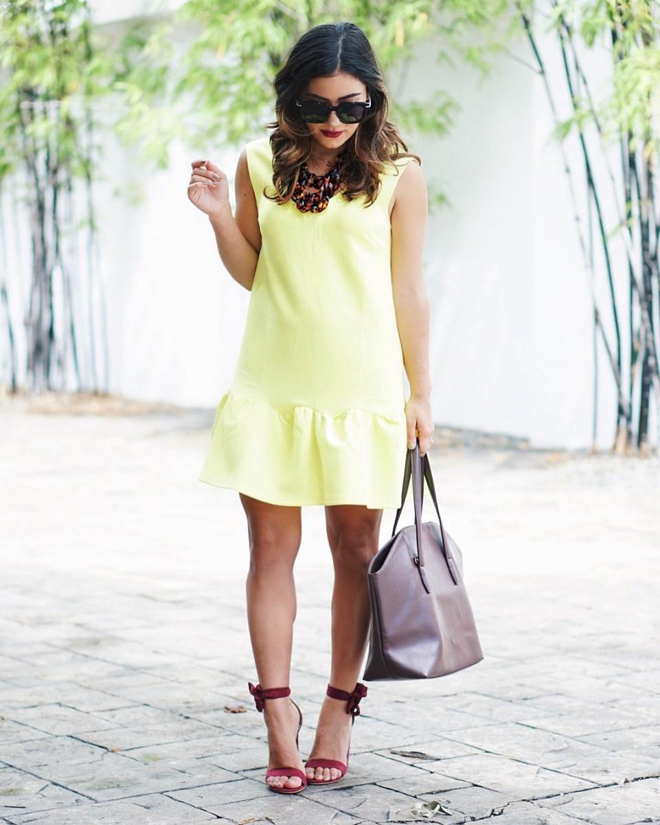 Yellow Ruffled Hem Dress