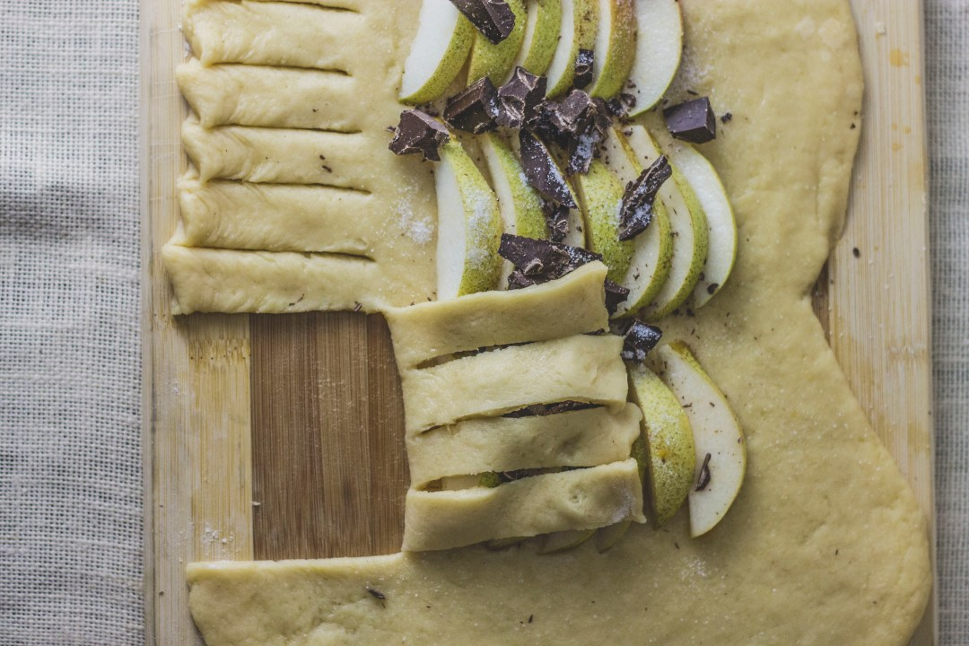 Pear and Chocolate Yeast Cake