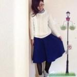 青スカート×ニット