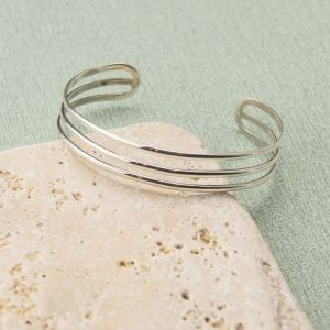 Silver Triple Bar Cuff Bangle