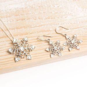 Silver Snowflake Pendant & Earring Set