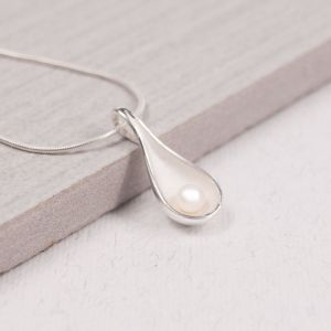 Silver Scoop Pendant with Pearl
