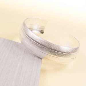 Silver Textured Cuff Bangle
