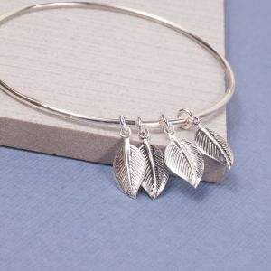 Silver Falling Leaves Bangle