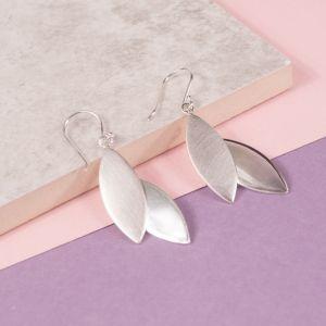 Silver Autumn Leaf Drop Earrings