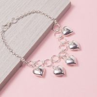 Silver Five Of Hearts Charm Bracelet