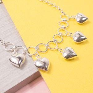 Silver Five Of Hearts Charm Bracelet