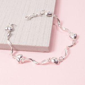 Silver Heart Twist Bracelet